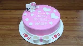 Tanpa Spuit! Cara Membuat Kue Ulang Tahun Hello Kitty Cake Simpel