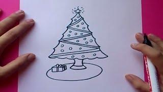 Como dibujar un arbol de navidad paso a paso | How to draw a Christmas tree
