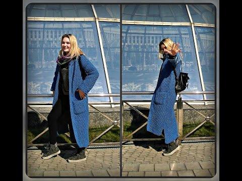 Вязаное пальто длинное спицами