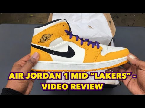 "b954b67e8b2e21 AIR JORDAN 1 MID ""LAKERS"" - VIDEO REVIEW - YouTube"
