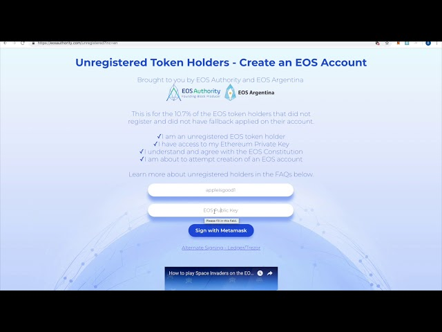 Unregistered Token Holders on EOS - Create an account - EOS Authority