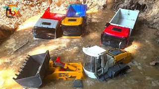 BRUDER TRUCKs and Wheel Loader Stuck In #Mud! Action video for kids