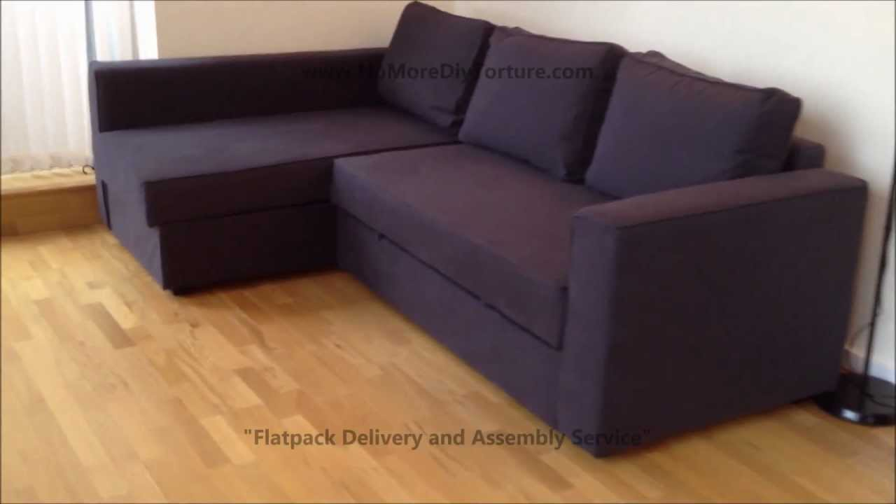 ikea manstad corner sofa bed with storage youtube. Black Bedroom Furniture Sets. Home Design Ideas