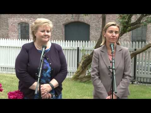 Joint press point by Norwegian Prime Minister Erna SOLBERG and Federica MOGHERINI in Oslo
