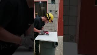 Cutting ceiling tiles