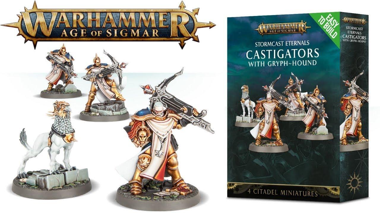 Age of Sigmar Games Workshop Warhammer Easy to Build Stormcast Eternals Castigators with Gryph-hound