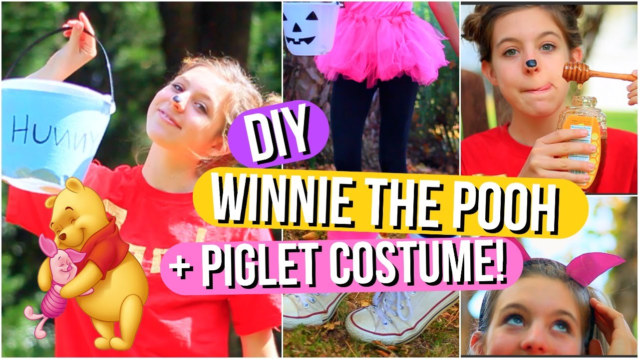sc 1 st  YouTube & DIY Winnie the Pooh and Piglet Halloween Costumes! - YouTube