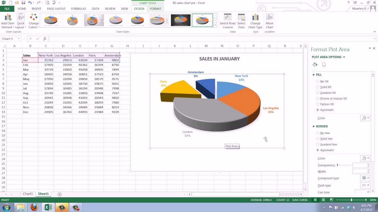 How to Create a Pie Chart in Excel 2013 - YouTube