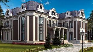 Проект большого двухэтажного дома в смешанных стилях
