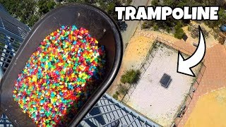 20,000 JELLY BEANS Vs. TRAMPOLINE from 45m!...