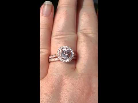 Morganite Rose Gold Milgrain Bezel Diamond Halo Engagement Ring