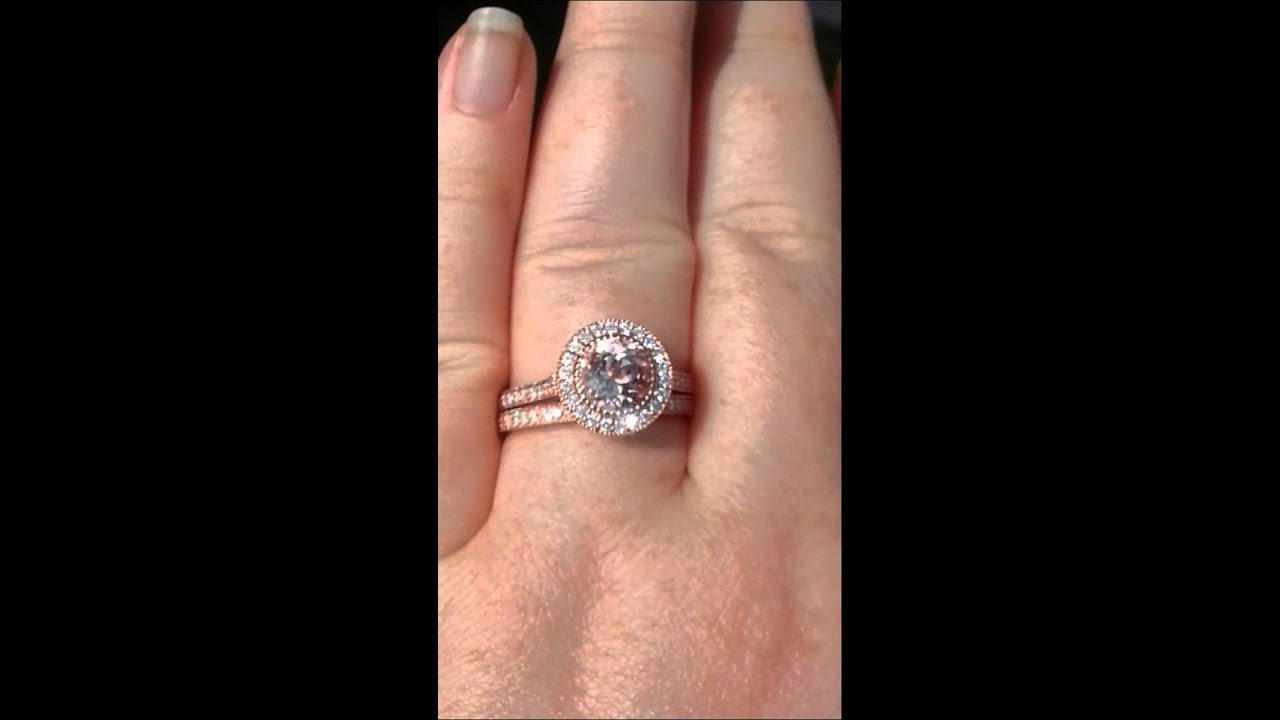 Morganite Rose Gold Milgrain Bezel Diamond Halo Engagement Ring and