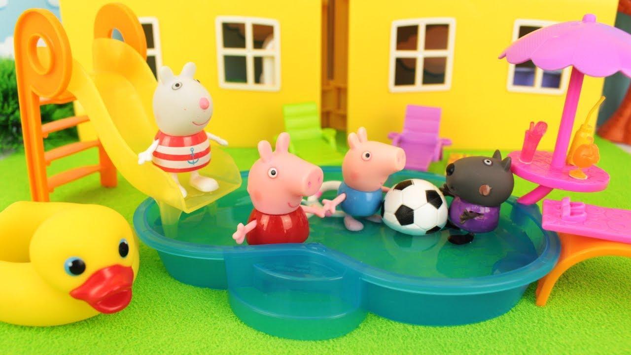 Pig George Da Familia Peppa Pig 2019 Tomando Banho Na Piscina