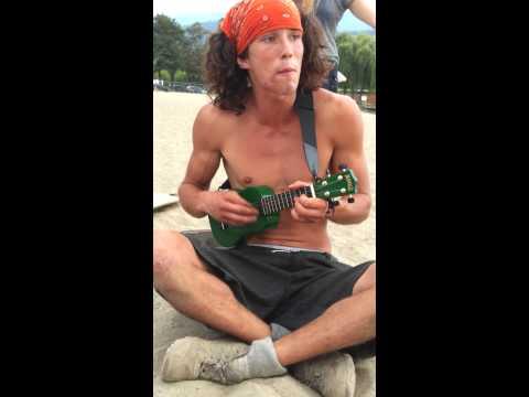 Kai The Hatchet Wielding Guy Plays Wagon Wheel on Green Ukulele