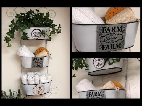 ~DOLLAR TREE DIY- FARMHOUSE ROOM DECOR- HANGING ORGANIZER OR PLANTER TRIO~