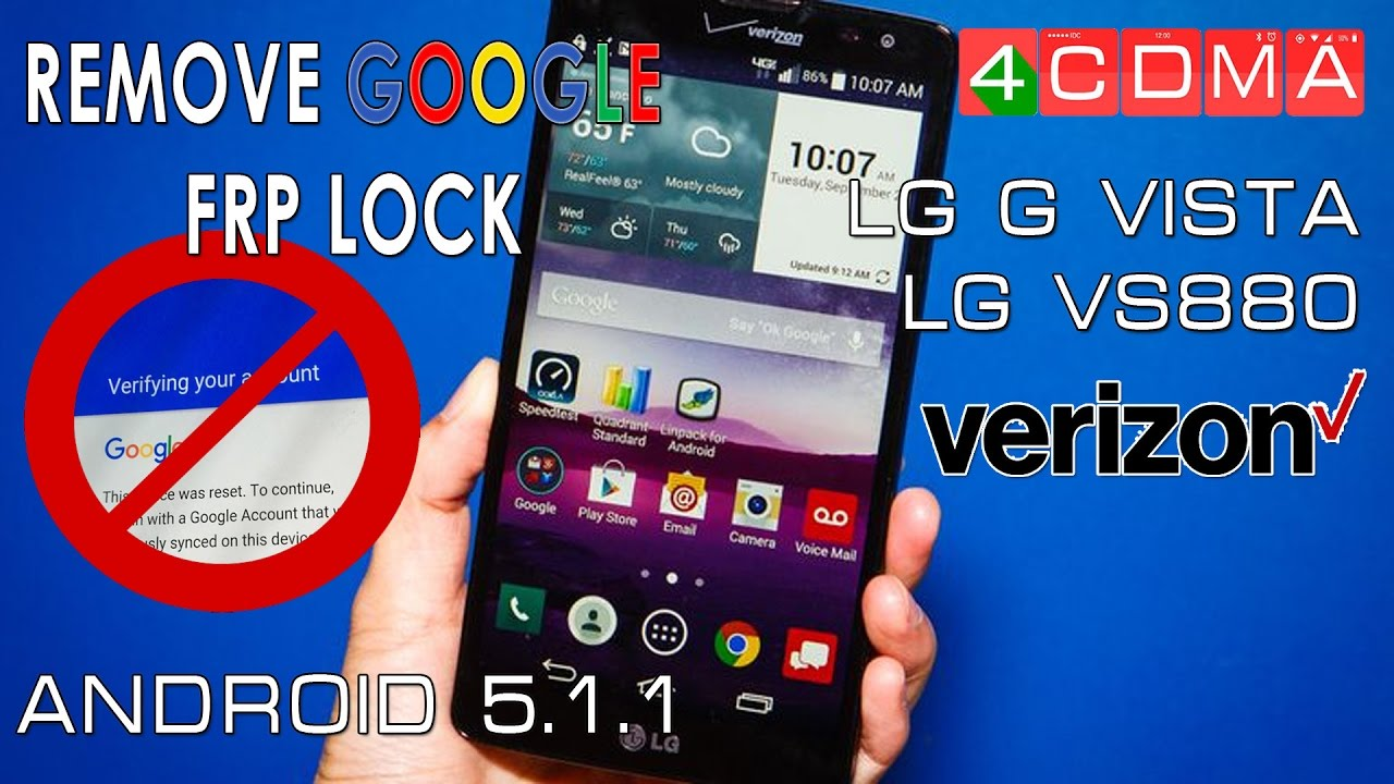 BYPASS GOOGLE Account LG G Vista VS880 | Remove Factory Reset Protection by  4CDMA
