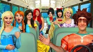 RALPH'S DISNEY PRINCESS CARPOOL BUS RIDE. (Vanelope, Ariel, Rapunzel, Belle, Elsa and Anna)