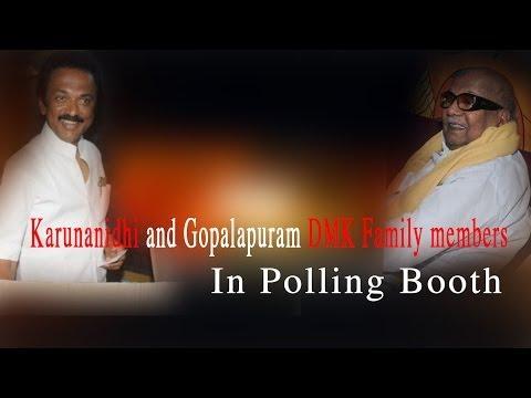 Karunanidhi and Gopalapuram DMK Family members in polling Booth - RedPix 24x7  தி.மு.க. தலைவர் கருணாநிதி கோபாலபுரத்தில் உள்ள சாரதா பள்ளியில் உள்ள வாக்குச் சாவடியில் இன்று காலை 10.55 மணிக்கு ஓட்டு போட்டார்.  பின்னர் அவர் நிருபர்களுக்கு பேட்டி அளித்தார். அதன் விவரம் வருமாறு:--  கேள்வி:- தேர்தல் வாக்குப்பதிவு நடைபெற்றுக் கொண்டிருக்கிறது. நீங்கள் வாக்களித்திருக்கிறீர்கள். இந்தத் தேர்தல் தி.மு.க. அணிக்கு சாதகமாக இருக்குமா?  பதில்:- சாதகமாக இருக்க வேண்டுமென்று நான் விரும்புகிறேன். எனவே சாதகமாக இருக்குமென்று நம்புகிறேன்.  கே:- தி.மு.க.வின் வெற்றி வாய்ப்பு எப்படி இருக்கும்? கடந்த முறை பெற்றதைவிட அதிகமான இடங்களை தி.மு.க. பெறுமா?  ப:- நிச்சயமாகப் பெறும்.  கே:- தோல்வி பயம் காரணமாக அ.தி.மு.க. எல்லா இடங்களிலும் பணப் பட்டுவாடா செய்திருக்கிறதே?  ப:- அ.தி.மு.க. பணத்தில் புரளுகிற கட்சி. எனவே அவர்கள் பணம் பட்டுவாடா செய்கிறார்கள்.  கே:- தொடர்ந்து தி.மு.கழகத்தின் சார்பாக அ.தி.மு.க.வின் மீது தேர்தல் கமிஷனிடம் புகார்கள் கூறிவருகிறீர்கள். அதில் நடவடிக்கை எடுக்கப் பட்டிருப்பதாக நினைக்கிறீர்களா?  ப:- நடவடிக்கை எடுத்ததாக இதுவரைத் தெரியவில்லை.  இவ்வாறு அவர் கூறினார்.  Drop and Roll Artist:Silent Partner Album:YouTube Audio Library  http://www.ndtv.com BBC Tamil: http://www.bbc.co.uk/tamil INDIAGLITZ :http://www.indiaglitz.com/channels/tamil/default.asp  ONE INDIA: http://tamil.oneindia.in BEHINDWOODS :http://behindwoods.com VIKATAN http://www.vikatan.com the HINDU: http://tamil.thehindu.com DINAMALAR: www.dinamalar.com MAALAIMALAR http://www.maalaimalar.com/StoryListing/StoryListing.aspx?NavId=18&NavsId=1 TIMESOFINDIA http://timesofindia.indiatimes.com http://www.timesnow.tv HEADLINES TODAY: http://headlinestoday.intoday.in PUTHIYATHALAIMURAI http://www.puthiyathalaimurai.tv VIJAY TV:http://www.youtube.com/user/STARVIJAY  -~-~~-~~~-~~-~- Please watch: