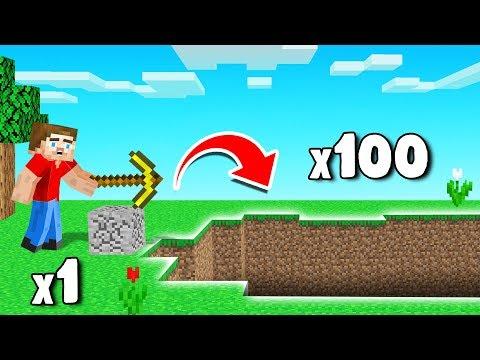 MINE 1 Block = 100 Blocks BREAK! (Minecraft)