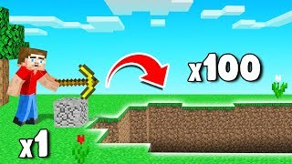 MINE 1 Block = 100 Blocks BREAK! (Minecraft)