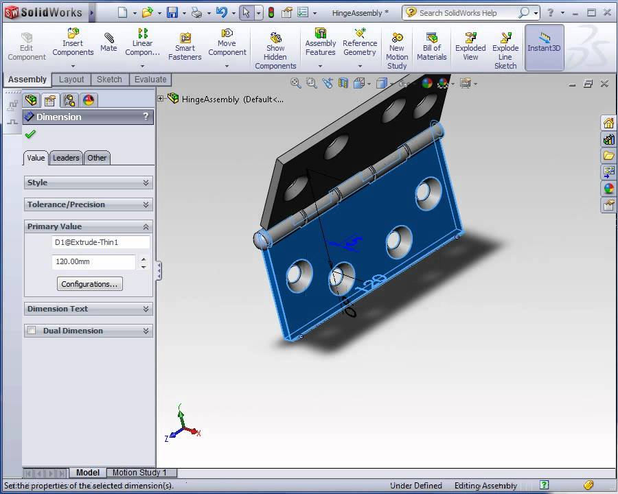 Solidworks Parametric Design Example Hinge Youtube
