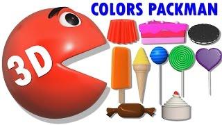 Surprise Packman 3D Colors | Colors Packman Eating IceCream Lollipop | Teaching Colours to Kids