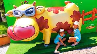 Elina and Julia funny girls Fun Playtime in Gardaland Theme Park
