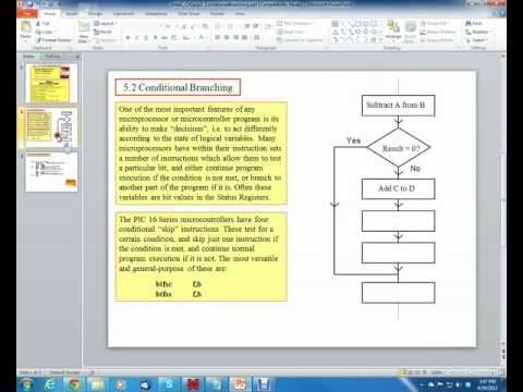 PIC16 Microcontrollers, Unit 21, Ch. 5; Conditional Branching in Assembly