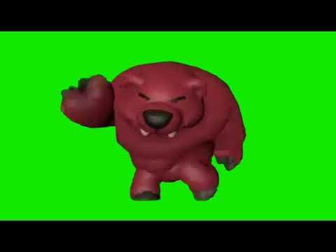 Танец медведя Ниты на зелёном фоне!Топовый футаж