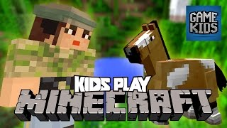 Millie, Geoff, And Griffon Play Minecraft Part 2 - Kids Play