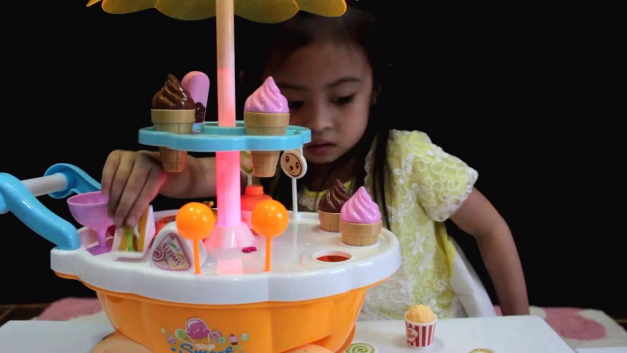 Ice Cream And Snack Cart Toys Mainan Berjualan Es Krim Youtube