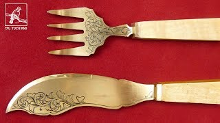 Making hand-engraved fork and knife