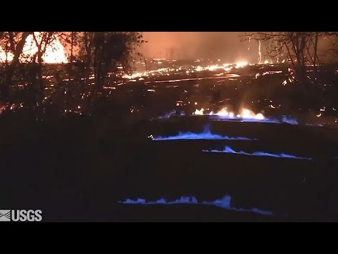 KILAUEA VOLCANO: Scientists in Hawaii have captured rare images of blue flames burning from cracks i