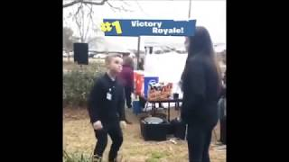 Girl unimpressed by kids Fortnite dancing in real life