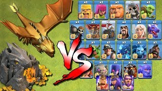 "ALL TROOPS vs MEGA DRAGON ""Clash of Clans"" - Dragon's Lair vs All Troops 