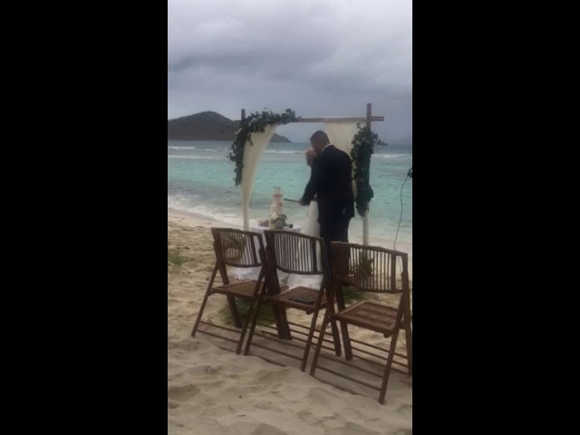 St Thomas USVI Beach wedding ceremony cake by the ocean