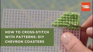 Cross Stitch For Beginners: Trendy Chevron Coasters