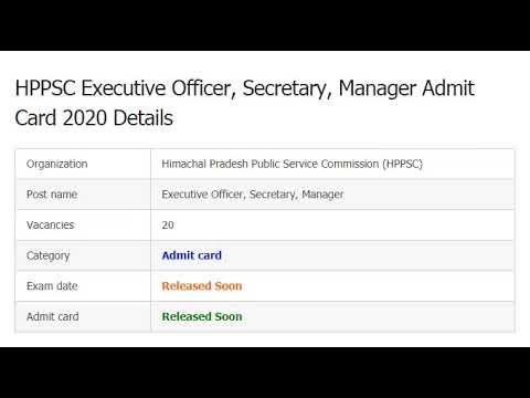 HPPSC Executive Officer Admit Card 2020 | Secretary, Manager Exam Date @...
