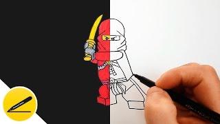 Лего Ниндзяго - Как Нарисовать Кая (Красный Ниндзя) - Рисуем Лего Ниндзяго