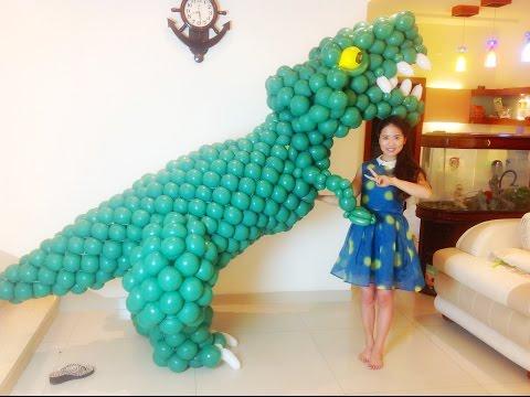 Magic balloon dinosaur video teachingLing Long balloon large dinosaurs may气球恐龙视频