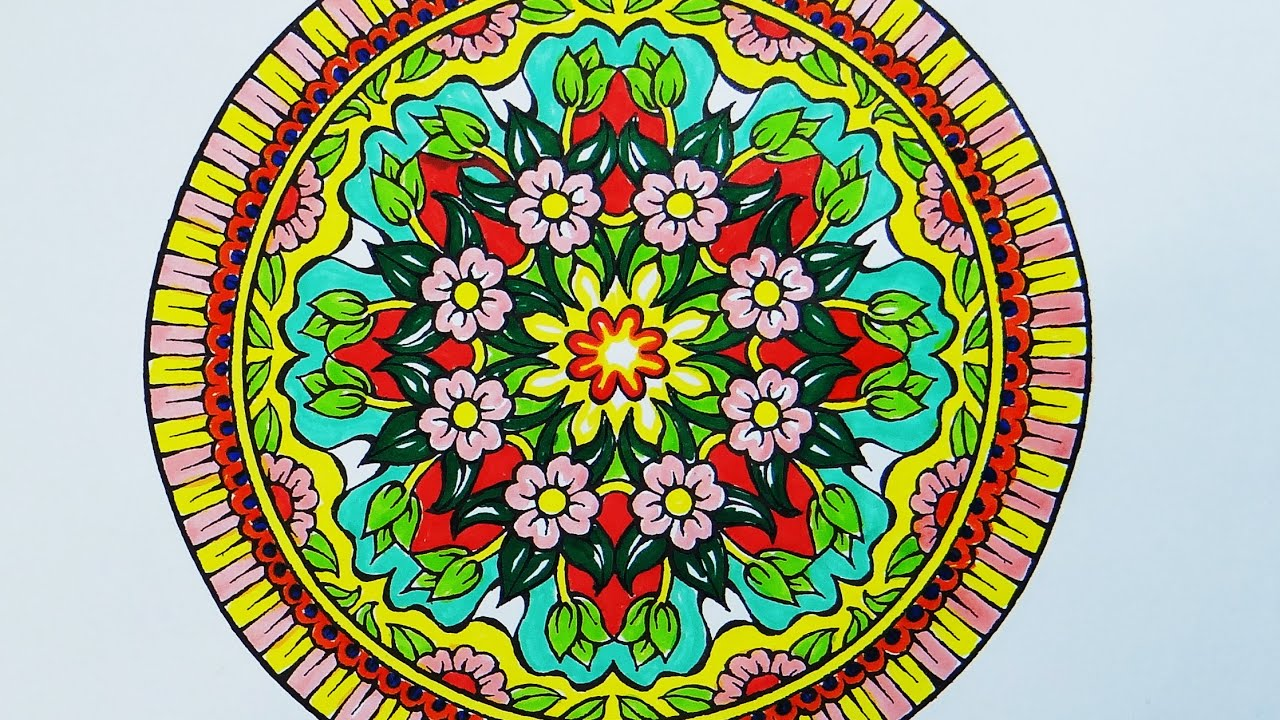 Coloring Book Mandala With Pink Flowers