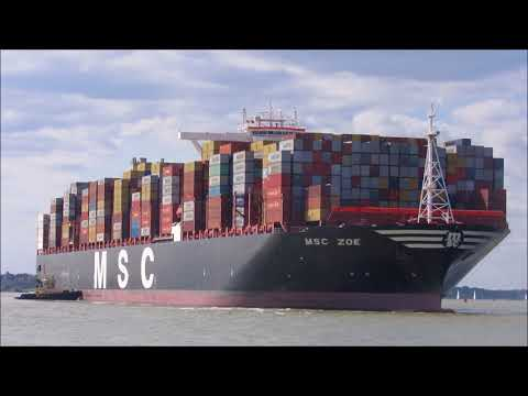 Ultra large MSC Zoe arrives at Felixstowe, 2 tugs assist with starboard swing 13th August 2017
