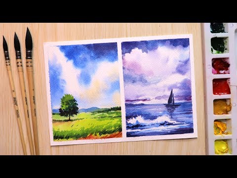 Watercolor Painting For Beginners Landscape Vs Seascape Easy