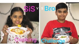 Sis Vs Bro Cooking Challenge  Scrambled Bread Cubes  Egg In The Hole