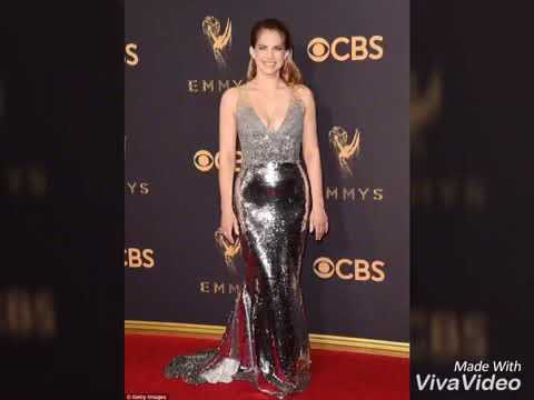 Shimmering in silver! Anna Chlumsky takes the Emmys red carpet