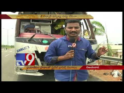 Private bus with Arunachal Pradesh registration hits electricity pole - TV9