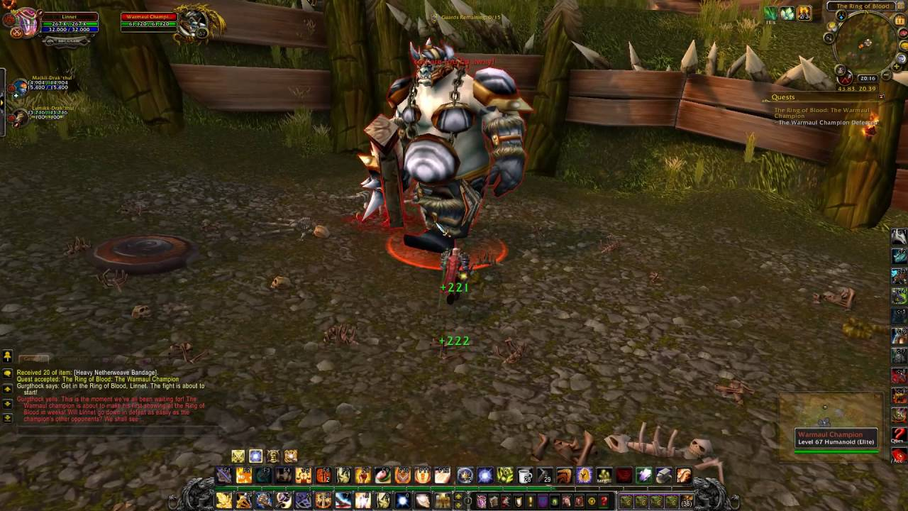 The Ring of Blood The Warmaul Champion Quest ID 9973 Playthrough Nagrand