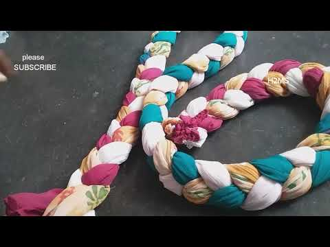 How to make simple braided rug/doormat/carpet/tablemat weaving,DIY old clothes hacks/Reuse tricks