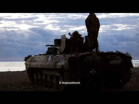 Hellenic Army ZU 23-2 on BMP 1 live fire exercise.