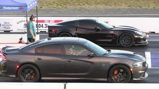 ZR1 Corvette vs Hellcat Charger and Challenger - drag race